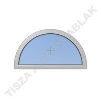 Műanyag ablak, fahér színben, félkör, fix kialakítással