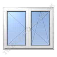 Műanyag ablak, fehér színben, váltószárnyas, nyíló+bukó nyíló kialakítással