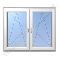 Műanyag ablak, fehér színben, tokosztós, nyíló bukó+nyíló bukó kialakítással