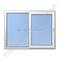 Műanyag ablak, fehér színben, toló-fix vízszintes mozgású kialakítással