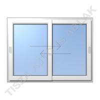 Műanyag ablak, fehér színben, toló- toló vízszintes mozgású kialakítással