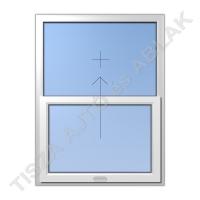 Műanyag ablak, fehér színben, toló-fix függőleges mozgású kialakítással