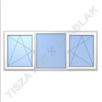 Műanyag ablak, fehér színben, bukó nyíló, fix, bukó nyíló kialakítással