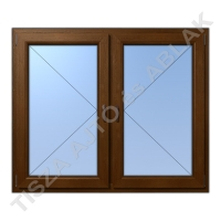 Műanyag ablak, aranytölgy színben, tokosztós, nyíló+nyíló kialakítással
