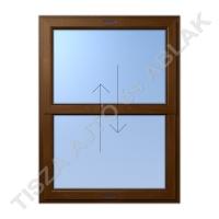 Műanyag ablak, aranytölgy színben, toló- toló függőleges mozgású kialakítással