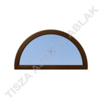 Műanyag ablak, mahagóni színben, félkör, fix kialakítással