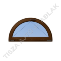Műanyag ablak, mahagóni színben, félkör, bukó kialakítással