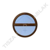 Műanyag ablak, mahagóni színben, kör, bukó kialakítással