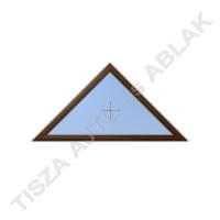 Műanyag ablak, mahagóni színben, háromszög, fix kialakítással