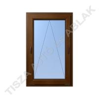 Műanyag ablak, mahagóni színben, kétkilincses bukó kialakítással