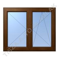 Műanyag ablak, mahagóni színben, váltószárnyas, nyíló+bukó nyíló kialakítással