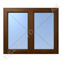 Műanyag ablak, mahagóni színben, váltószárnyas, nyíló+nyíló kialakítással