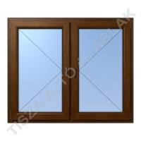 Műanyag ablak, mahagóni színben, tokosztós, nyíló+nyíló kialakítással