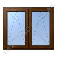 Műanyag ablak, mahagóni színben, tokosztós, nyíló bukó+nyíló bukó kialakítással