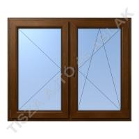 Műanyag ablak, mahagóni színben, tokosztós, nyíló+bukó nyíló kialakítással