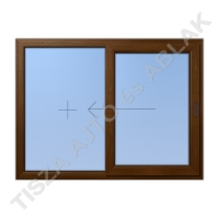 Műanyag ablak, mahagóni színben, toló-fix vízszintes mozgású kialakítással