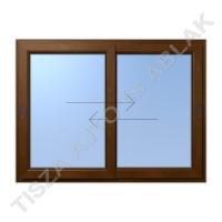 Műanyag ablak, mahagóni színben, toló- toló vízszintes mozgású kialakítással