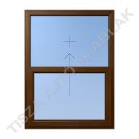 Műanyag ablak, mahagóni színben, toló-fix függőleges mozgású kialakítással