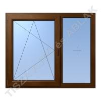 Műanyag ablak, mahagóni színben, bukó nyíló+ fix kialakítással