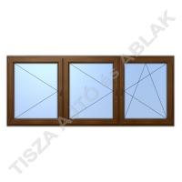 Műanyag ablak, mahagóni színben, nyíló, nyíló, bukó nyíló kialakítással