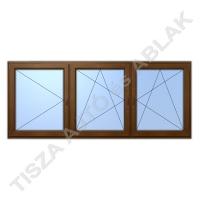 Műanyag ablak, mahagóni színben, nyíló, bukó nyíló, bukó nyíló kialakítással