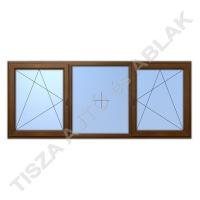 Műanyag ablak, mahagóni színben, bukó nyíló, fix, bukó nyíló kialakítással