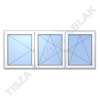 Nyíló, nyíló-bukó + nyíló-bukó műanyag ablak