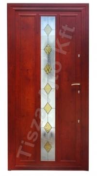 acél bejárati ajtó redwood színben üveges