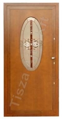 acél bejárati ajtó dió színben üveges