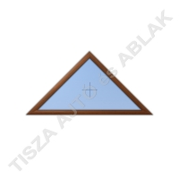 Műanyag nyílászárók, mocsári tölgy színben, háromszög, fix  kialakítással