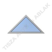 Műanyag nyílászárók, ahát szürke színben, háromszög, fix kialakítással